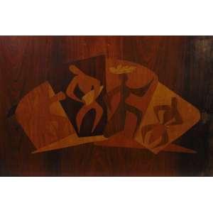 ANÔNIMO - Frevo - Marchetaria em madeira - Sem assinatura - 50 x 74 cm.
