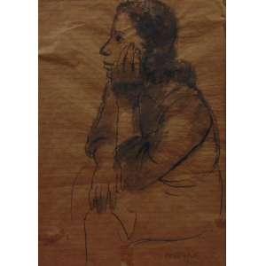 Pennacchi - Fig. Feminina - Aguada de nanquim s/ papel - ass. cid - 1939 - 25x18 cm - apresenta rasgo no papel e manchas de adesivo ; no estado.