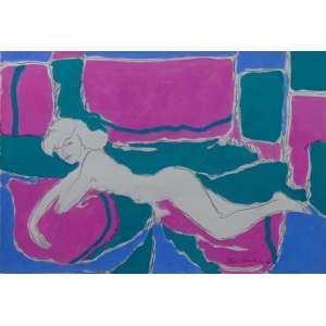 ÍTALO CENCINI - Nú feminino - Acrílica e lápis de cor sobre papel - Ass. inf.direito - 1992 - 33 x 48 cm.
