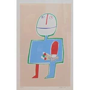 GUSTAVO ROSA - Figura com buquê de flores - Serigrafia ass. CID - 1991 -tiragem 12/13 - 60 X 39 cm.