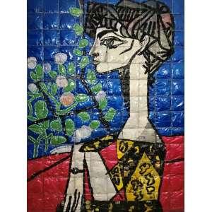 MARCOS CARDOSO - Reciclagem Sobre tecido - Figura Feminina - Dat. 2008 - Ass. no verso.