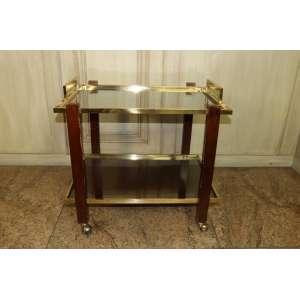 Carrinho para chá, madeira, latão e vidro, dc. 70, Brasil, século XX (no estado).