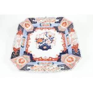 Grande medalhão de formato de sessão quadrada, decoração padrão Imari, 45cm x 45cm, Japão, século XIX.