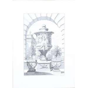 Conjunto de três gravuras a metal, motivos arquitetônicos, 41cm x 30cm.