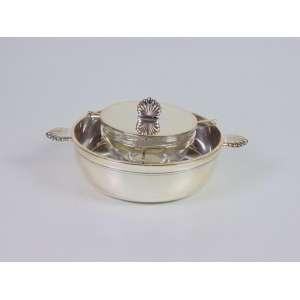 Porta caviar em metal espessurado a prata, manufatura Mappin Webb, 25cm x 6cm, Inglaterra, século XX.