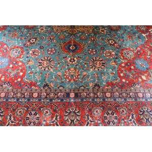 Tapete iraniano, Kashan, manufatura manual, 4,20m x 3,15m (no estado).