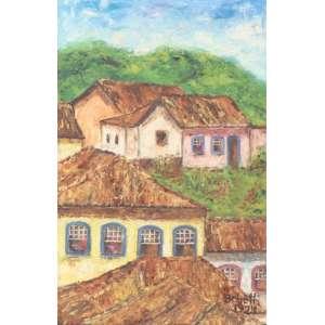 BEBETH, paisagem, óleo sobre tela, 1974, C/I/D, 30cm x 20cm.