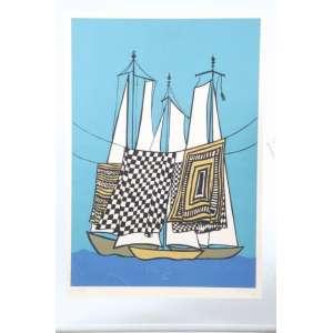 CAMPELO, barcos, serigrafia, 1973, P/A, 55cm x 38cm.