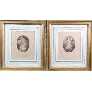 Par de gravuras a metal representando damas, 26cm x 25cm.