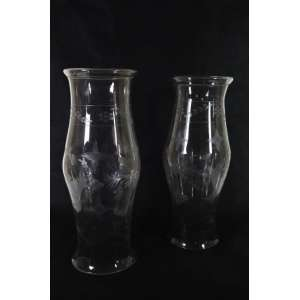 Par de donzelas de cristal lapidado, 50cm x 20cm.