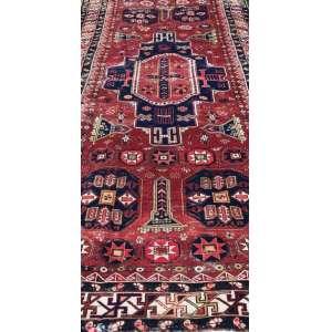 Tapete caucasiano, Kazak, manufatura manual, 2,80m x 1,40m (no estado).