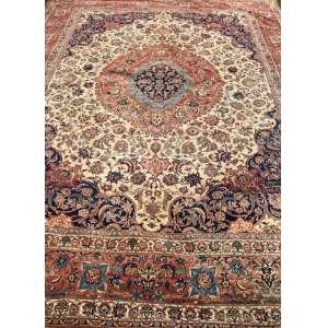 Tapete iraniano(com mancha), Kashan, manufatura manual, 4,10m x 2,90m (no estado).