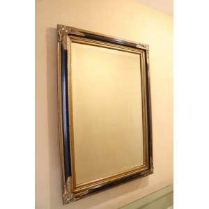 Espelho bisotê, moldura dourada, 1,10m x 80cm.
