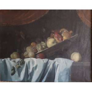 JEAN BAPTISTE MONNOYER - (Atribuído) 1634-1699, Natureza morta, óleo sobre tela, 73cm x 92cm , nasceu em Lille,mas estava em Paris em 1650, onde foi documentado trabalhando nas decorações do Hôtel Lambert. Ele foi levado por Charles Le Brun para pintura decorativa no Castelo de Marly e na residência do Grand Dauphin, o Château de Meudon.