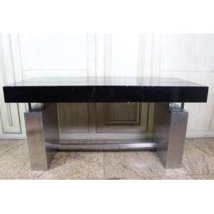 Aparador de madeira, aço inoxidável e acrílico, com três gavetas, dc. 70, 79cm x 1,60m x 70cm.