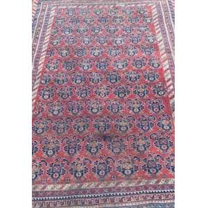 Tapete iraniano, Shiraz Qashgai, manufatura manual, 2,20m x 1,55m (no estado).
