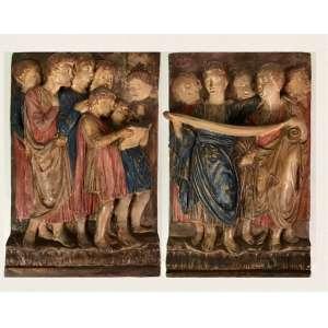 Par de placas em terracota policromada, representando figuras clássicas, 45cm x 30cm, Europa, século XX.