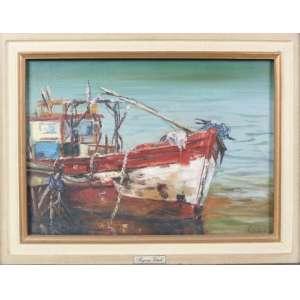 REGINA VITALE, marinha, óleo sobre tela, 1987, C/I/D, 35cm x 47cm.