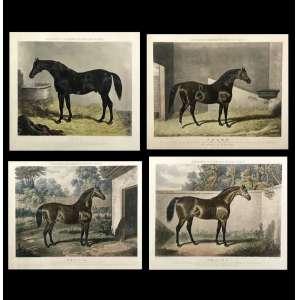 J. F. HERRING, conjunto de quatro gravuras, a metal, representando cavalos, 34cm x 42cm, Inglaterra, século XIX. Célebre artista especializado em cavalos da Inglaterra.