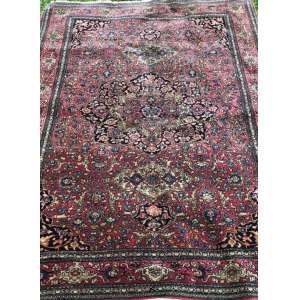 Tapete iraniano, Kirma, manufatura manual, 2,00m x 1,40m (no estado).