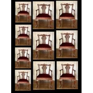 Jogo de dez cadeiras de braço, finamente trabalhadas, estilo chippendale, Europa, século XX.