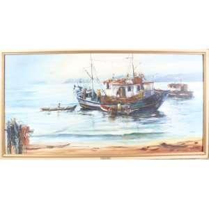 REGINA VITALE, marinha, óleo sobre tela, C/I/D, 1990, 60cm x 1,20m.