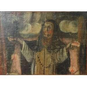 Fragmento de óleo sobre tela de imaginária sacra com figura de santa - sec. XIX - sem assinatura - 42cm x 58cm