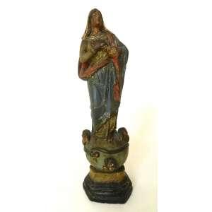 Imagem de Nossa Senhora sobre esfera - cerâmica policromada - Portugal - altura 32cm - no estado