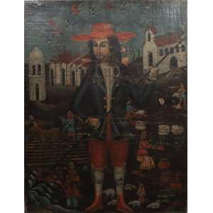 São Isidoro Lavrador - Escola Cusquenha - Séc. XIX - OST - 76 x 59 cm.(tela com perca de matéria)