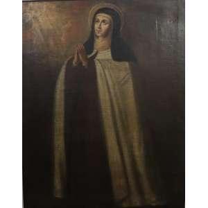 Santa Teresa de Jesus - Escola Cusquenha - Séc. XVIII - OST - 103,5 x 81,5 cm.(No estado)