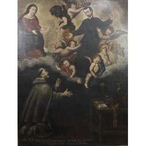 A Visão de São Pedro Alcântara - Escola Cusquenha - Séc. XVIII - OST - 133 x 106 cm.