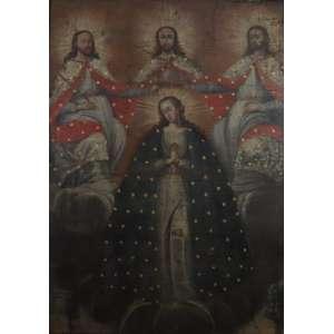 Coroação da Virgem Maria pela Santíssima Trindade - Escola Cusquenha - Séc. XVIII - OST - 149 x 107,5 cm.(no estado)