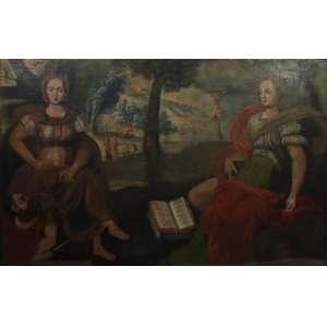 A Fé e a Razão - Escola Cusquenha - Séc. XVIII - OST - 129 x 220 cm.