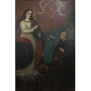 São Gabriel de Ancona - Escola Cusquenha - Séc. XIX - OST - 160 x 108 cm.