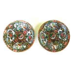 Par de pequenos pratos mandarim de porcelana - sec XIX - diâmetro 13cm