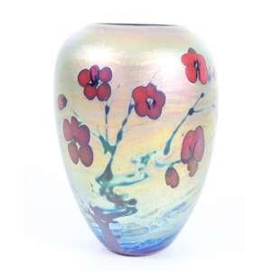 Vaso em vidro iridescente decoração floral ,Assinado - 18 cm alt. 12 cm diâm.
