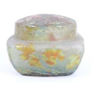 DAUN NANCY -Bela Caixa em vidro acidado assinado - 5 cm alt. 8 x 8 cm. (no estado)