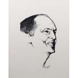 ALDEMIR MARTINS - Retrato de Oscar Niemeyer - Desenho a Nanquim 1968 - 35 x 25 cm.