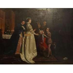 FLORENT WILLEMS - Cena de interior OSM - CIE - 47 x 62 cm. Willems nasceu em Liège . Ele não tinha aulas regulares de pintura, mas aprendeu copiando e restaurando quadros antigos em Mechelen , onde viveu desde 1832. Ele fez sua estreia no Salão de Bruxelas em 1842 com Uma Festa de Música e um Interior de uma Sala da Guarda do século 17 no estilo de Gerard ter Borch e Gabriel Metsu . Logo depois, ele se estabeleceu em Paris , onde suas pinturas gozaram de considerável popularidade durante o Segundo Império Francês . Entre suas obras mais famosas podem ser mencionadas O vestido de noiva (Galeria de Bruxelas), La Fete des avós-pais(Galeria de Bruxelas), Le Baise-main (coleção de Mme. Cardon, Bruxelas), Farewell (Willems coll., Bruxelas), Os Arcos da Paz (Coleção Delahaye, Antuérpia ) e A Viúva (gravada por David Joseph Desvachez, 1822- 1902). Ele morreu em Neuilly-sur-Seine. (perca de matéria)