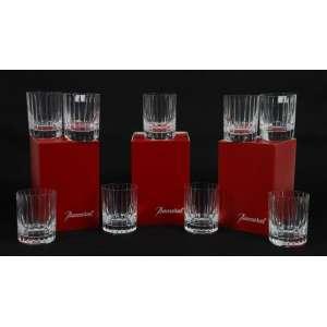 Jogo de 9 copos para whisky em fino cristal manufatura Baccarat , selados ao fundo . França Sec XX.