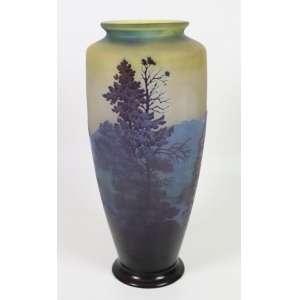 Galle- Grande vaso de vidro acidado representando bela paisagem em tons de azul, França Sec XIXXX (ótimo restauro na base em um lascado) - 45 cm alt. 20 cm diâm.