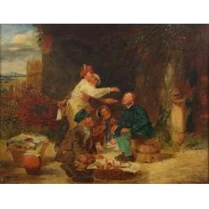J.P.HALL - Paisagem com figuras - OSM - CID - Dat. 1860 - 35 x 45 cm.