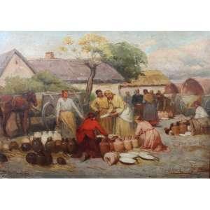 LAJOS DEAK - EBNER - OSM - 48 x 68 cm.Estudou em Munique e Paris, onde se juntou aos seus colegas pintores László Paál e Mihály Munkácsy e foi influenciado pela escola de Barbizon. Depois de 1874, ele passou seus verões na colônia de arte de Szolnok. Muitas de suas pinturas são retratos realistas da vida em torno de Szolnok de 1887 a 1922, foi chefe da Escola de pintura Feminina de Budapeste (Budapesti Noi Festoiskola). Em 1890, ele e Károly Lotz pintaram afrescos na Abadia de Tihany. De 1895 a 1899, ele executou mais afrescos no Kunthalle Budapeste.