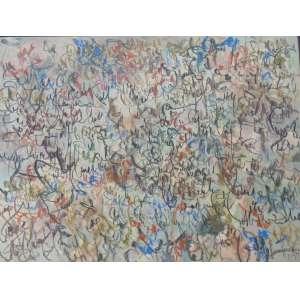 LEÓN FERRARI - Composição - Pastel oleoso sobre PVC. , assinado canto inferior direito . 55,5 x 74 cm.
