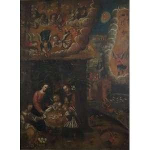 Nascimento do Salvador- Escola Cusquenha , O/S/T Perú Sec XVIIXVIII - Ex Coleção Gisela Leirner. 188 x 139 cm (no estado)