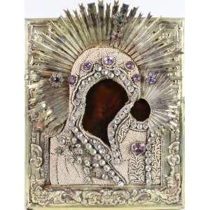 Ícone em metal e rico trabalho de pedrarias . Rússia Sec XX. 29 x 24 cm.