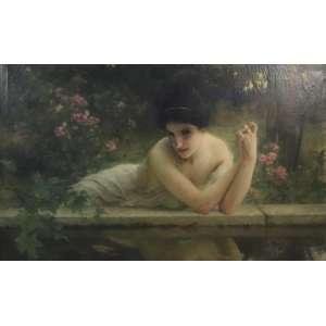 CHARLE AMABLE LENOIR -(22 de outubro de 1860 - 1926) Figura feminina desnuda - OST - CID - 74 x 121 cm. Lenoir nasceu em Châtellaillon, uma pequena cidade nos arredores de La Rochelle . Sua mãe era costureira e seu pai era funcionário da alfândega. Quando ele era jovem, seu pai foi transferido e a família mudou-se para Fouras . Ele não começou na vida como artista, mas em vez disso começou sua educação em um colégio de professores em La Rochelle. Após a formatura, trabalhou como professor e orientador no liceu de Rochefort.