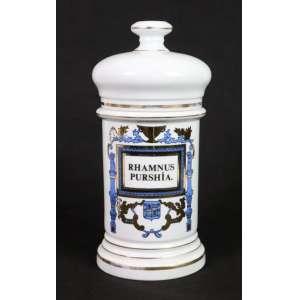 Belo pote de farmácia em porcelana com delicada decoração a esmalte . Europa Sec XIX - 29 cm alt, 13 cm diâm.