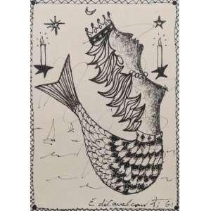 EMILIANO DI CAVALCANTI - Sereia Iemanjá - Desenho a Nanquim - 1961 - No Verso menu do restaurante do Hotel Copacabana Palace - Ass. Canto inferior direito - 16 x 11 cm.