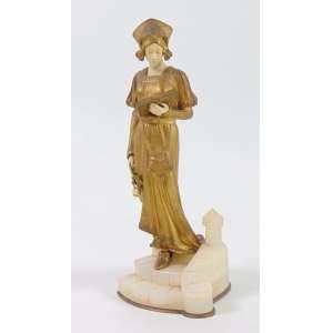 Domenico Alonzo - Delicada escultura de bronze marfim representando jvem dama base em Onix 23 cm alt. Importante artista escultor.